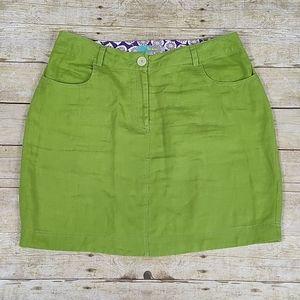 Boden Green Linen Skirt